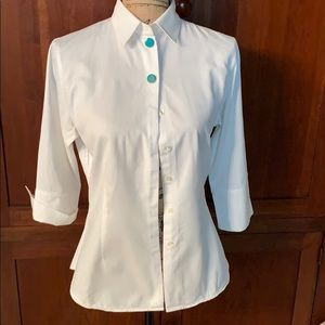 Anne Fontaine of Paris tailored white blouse